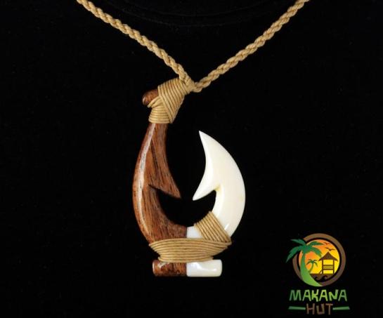 """Koa Wood Cow Bone Makau (Fish Hook) 20"""""""