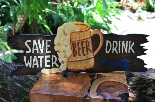 Save Water, Drink Beer - Tiki Bar Sign